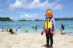 沖縄,離島,座間味,家族旅行,子連れ、海水浴,ライフジャケット